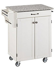 Home Styles Cuisine Cart White Finish Salt and Pepper Granite Top