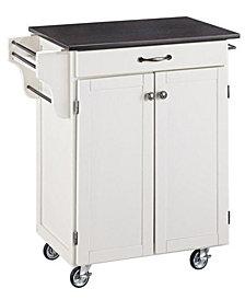 Home Styles Cuisine Cart White Finish Black Granite Top