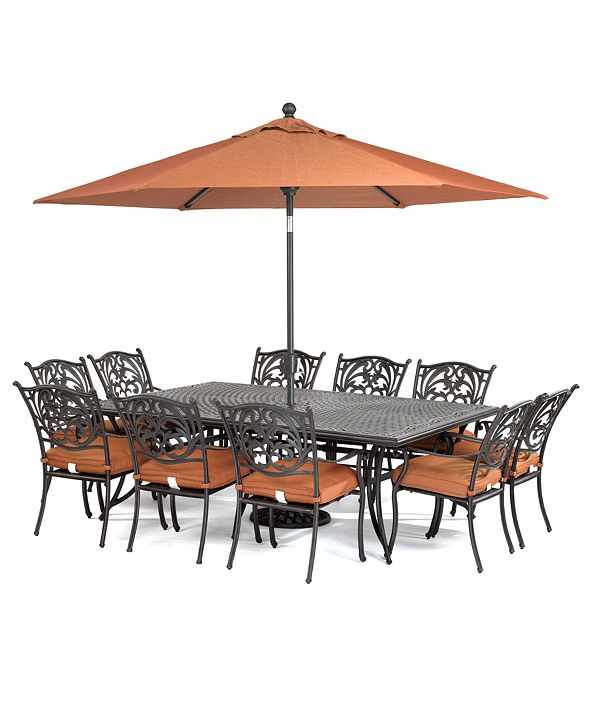 "Furniture Chateau Outdoor Cast Aluminum 11-Pc. Dining Set (84"" x 60"" Dining Table and 10 Dining Chairs), Created for Macy's"
