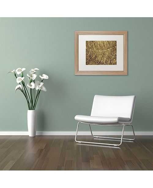 "Trademark Global Cora Niele 'Sepia Leaf Texture' Matted Framed Art, 11"" x 14"""