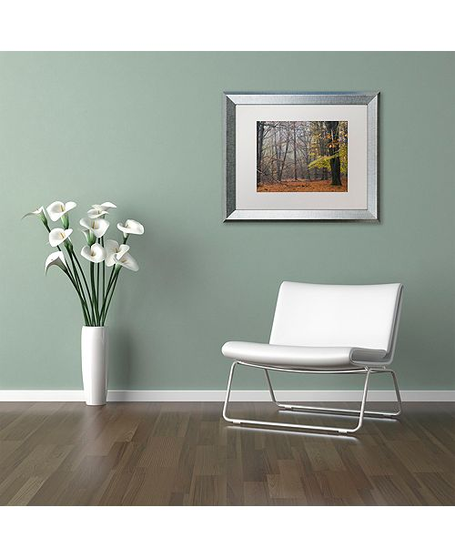 "Trademark Global Cora Niele 'Hazy Wood' Matted Framed Art, 11"" x 14"""