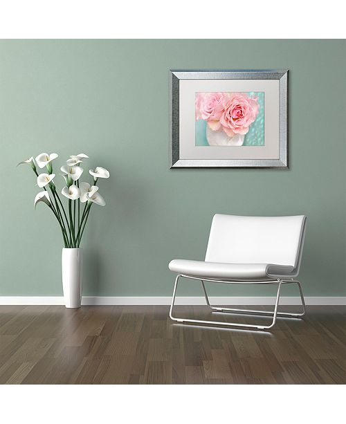 "Trademark Global Cora Niele 'Pink Rose Bouquet' Matted Framed Art, 11"" x 14"""