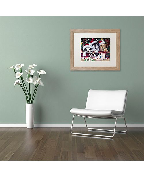 """Trademark Global Jenny Newland 'A Tail Wagging Christmas' Matted Framed Art, 16"""" x 20"""""""
