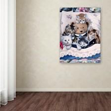 "Jenny Newland 'Kittens And Teddy Bear' Canvas Art, 35"" x 47"""