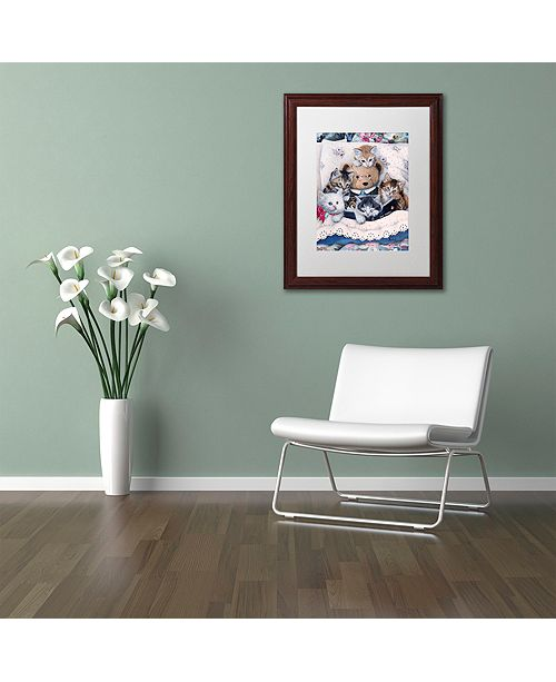 "Trademark Global Jenny Newland 'Kittens And Teddy Bear' Matted Framed Art, 11"" x 14"""