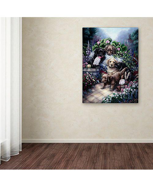 "Trademark Global Jenny Newland 'Gardening Puppies' Canvas Art, 35"" x 47"""
