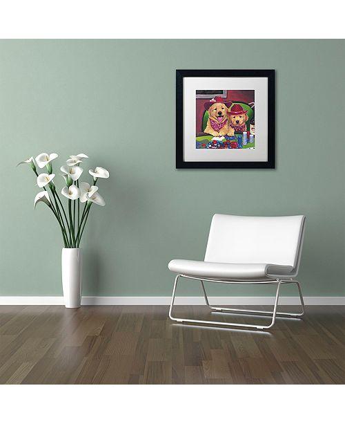 "Trademark Global Jenny Newland 'Poker Dogs' Matted Framed Art, 16"" x 16"""
