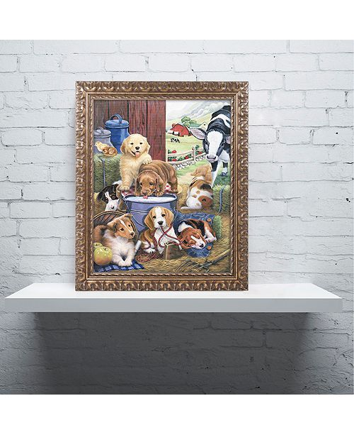 "Trademark Global Jenny Newland 'Puppy Hayday' Ornate Framed Art, 16"" x 20"""