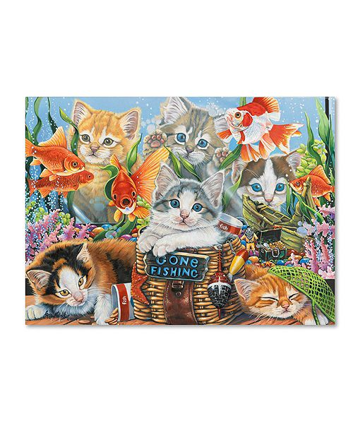"Trademark Global Jenny Newland 'Gone Fishing' Canvas Art, 14"" x 19"""