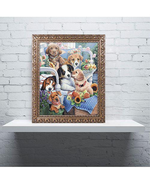 "Trademark Global Jenny Newland 'Country Pups' Ornate Framed Art, 11"" x 14"""