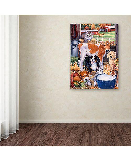 "Trademark Global Jenny Newland 'Barn Pals' Canvas Art, 35"" x 47"""