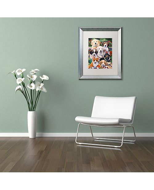 """Trademark Global Jenny Newland 'Garden Puppies' Matted Framed Art, 16"""" x 20"""""""