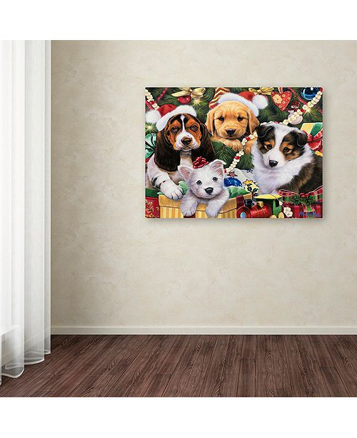 "Trademark Global Jenny Newland 'Puppy Surprise' Canvas Art, 14"" x 19"""