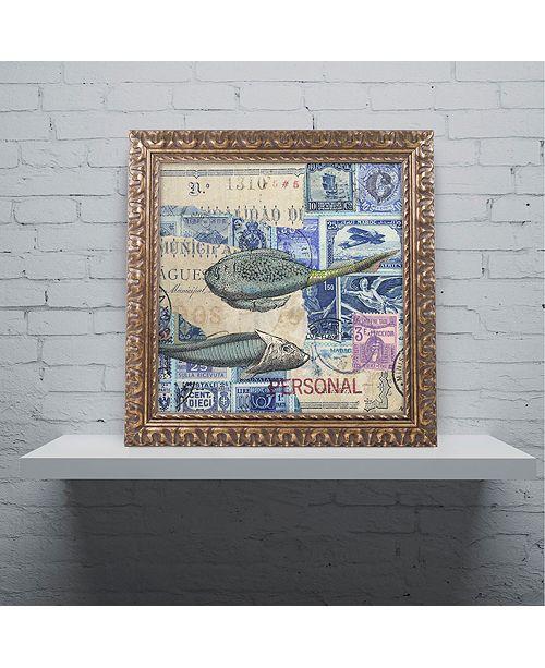 """Trademark Global Nick Bantock 'Cap Cream Blue' Ornate Framed Art, 11"""" x 11"""""""