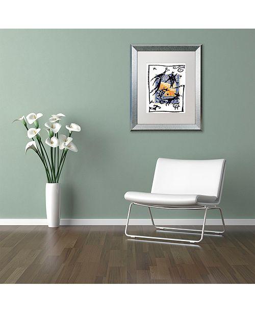 "Trademark Global Nick Bantock 'Pelicos Stamp' Matted Framed Art, 11"" x 14"""