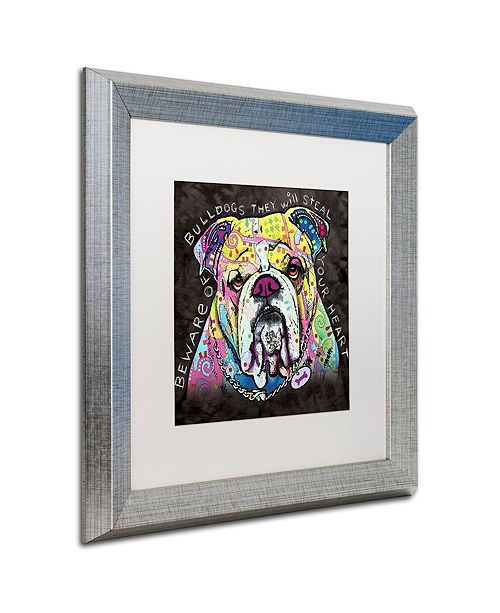 "Trademark Global Dean Russo 'Bulldog Heart' Matted Framed Art, 16"" x 16"""