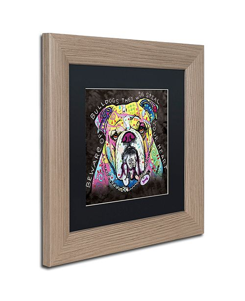 "Trademark Global Dean Russo 'Bulldog Heart' Matted Framed Art, 11"" x 11"""