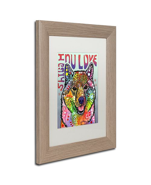 "Trademark Global Dean Russo 'Shiba Inu Luv' Matted Framed Art, 11"" x 14"""