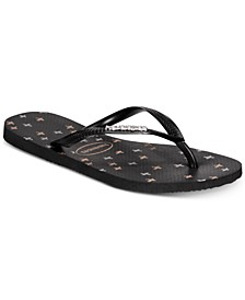 Slim Logo Metallic Strip Flip-Flop Sandals