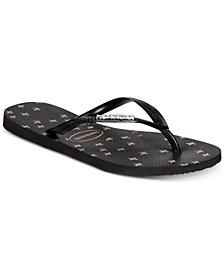 Havaianas Slim Logo Metallic Strip Flip-Flop Sandals