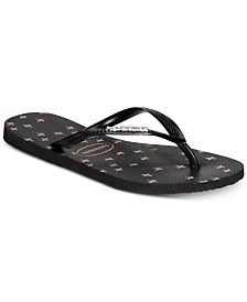 Havaianas Slim Logo Metallic Strip Flip-Flop Sandals