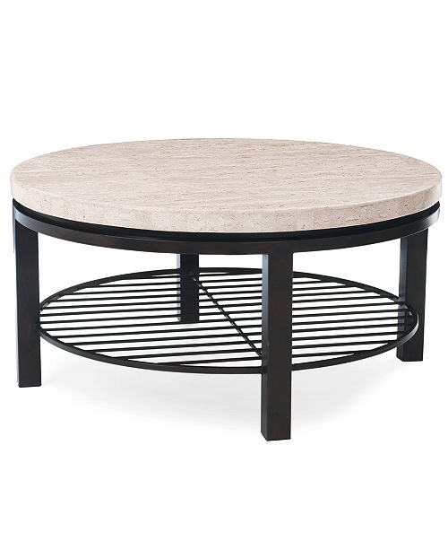 Furniture Tempo Travertine Top Round Coffee Table
