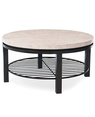 Tempo Travertine Top Round Coffee Table Furniture Macy 39 S