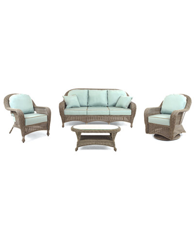 Sandy Cove Outdoor Wicker 4-Pc. Seating Set (1 Sofa, 1 Club Chair, 1 Swivel Glider and 1 Coffee Table), Created for Macy's