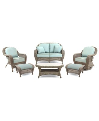 Sandy Cove Outdoor Wicker 6 Pc. Seating Set (1 Loveseat, 1 Club Chair, 1  Swivel Glider, 2 Ottomans And 1 Coffee Table), Created For Macyu0027s