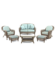 Sandy Cove Outdoor Wicker 6-Pc. Seating Set (1 Loveseat, 1 Club Chair, 1 Swivel Glider, 2 Ottomans and 1 Coffee Table), Created for Macy's