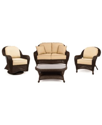 Monterey Outdoor Wicker 4 Pc. Seating Set With Sunbrella® Cushions (1  Loveseat