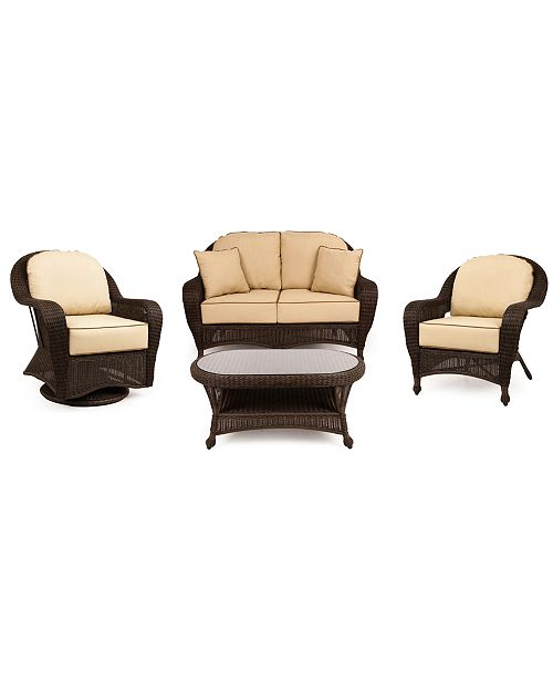 Furniture Monterey Outdoor Wicker 4-Pc. Seating Set with Sunbrella® Cushions  (1 Loveseat, 1 Club Chair, 1 Swivel Glider and 1 Coffee Table), Created for Macy's