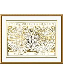 Gold Foil Vintage Map  Framed Art Print