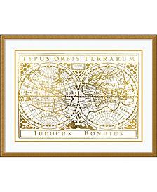 Amanti Art Gold Foil Vintage Map  Framed Art Print