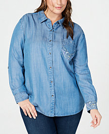 Style & Co Plus Size Bandana-Print Button-Up Shirt, Created for Macy's