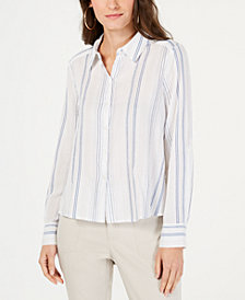 I.N.C. Striped Button-Front Shirt, Created for Macy's