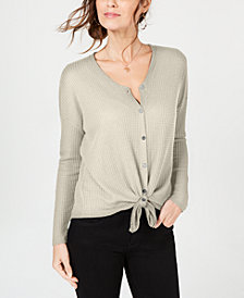 Style & Co Petite Button-Front Thermal Top, Created for Macy's