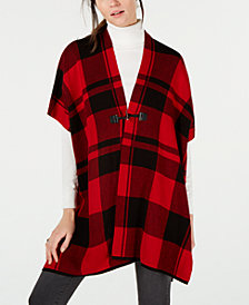 Tommy Hilfiger Plaid Poncho, Created for Macy's