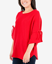 NY Collection Round-Hem Tie-Sleeve Sweater