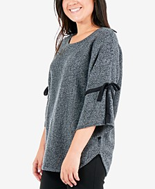 Marled Tie-Sleeve Sweater