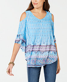 Style & Co Printed Cold-Shoulder Top, Created for Macy's