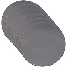 Certified International Harmony Solid Color - Light Grey 6-Pc. Dinner Plate