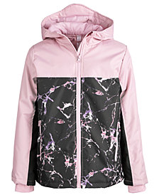 Ideology Big Girls Colorblocked Marble-Print Hooded Jacket, Created for Macy's