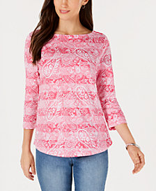 Charter Club Printed Cotton 3/4-Sleeve Top, Created for Macy's