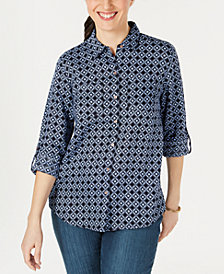Charter Club Linen Printed Button-Up Shirt, Created for Macy's