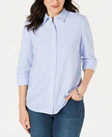 Charter Club Petite Cotton Striped Knit Shirt, Created for Macy's