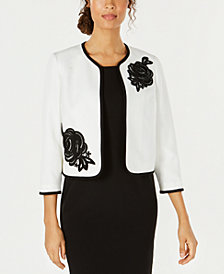 Kasper Embroidered Open-Front Blazer