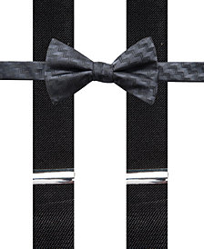Alfani Men's Errol Chevron Stripe Bow Tie & Suspenders Set, Created for Macy's