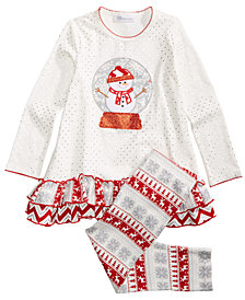 Bonnie Jean Little Girls 2-Pc. Snow Globe Top & Leggings Set