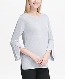 Calvin Klein Metallic Bell-Sleeve Sweater